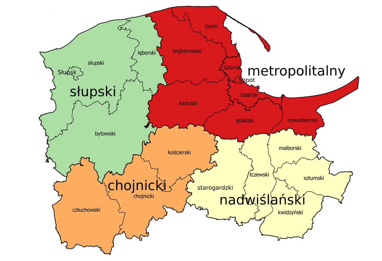 Mapa - Subregionalne Zespoły Robocze